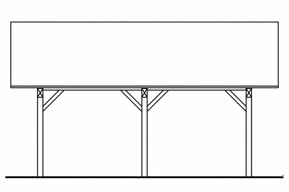 Two Car Carport Plan 20-062 - Right Elevation