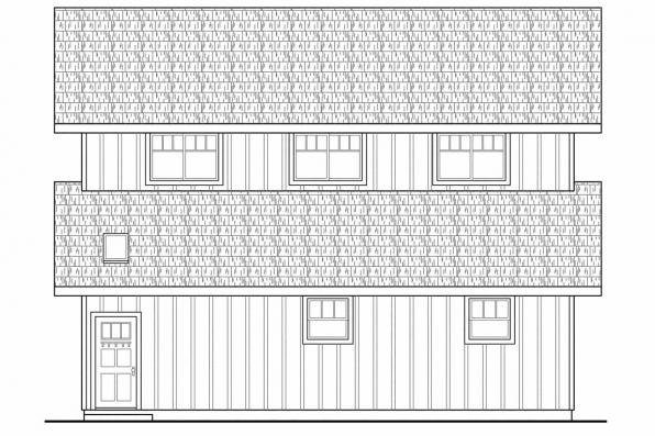 Two Story Barn Design 20-059 - Left Elevation