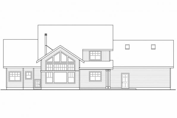Vacation Home Plan - Grand River 30-754 - Rear Elevation