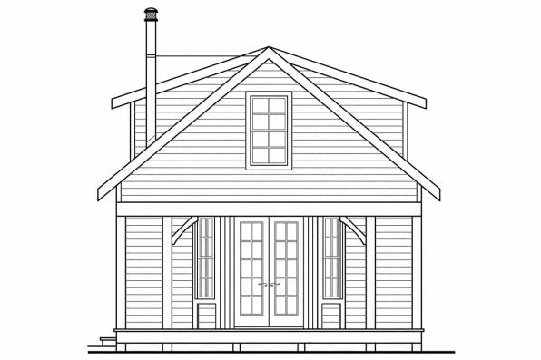 Vacation Home Plan - Guest Cottage 30-727 - Rear Elevation