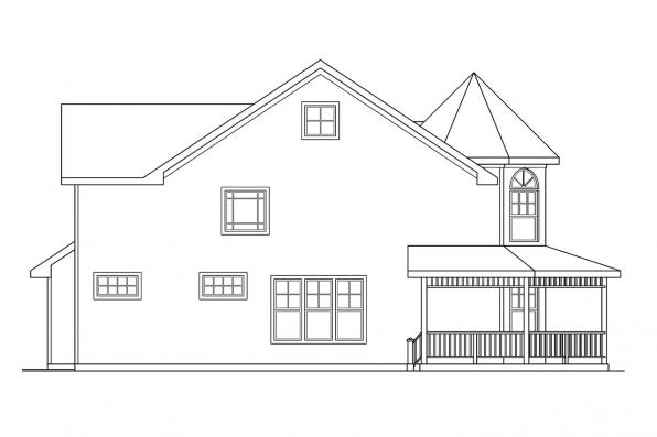 Victorian House Plan - Evansville 30-045 - Left Elevation