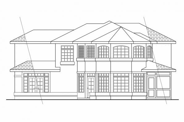 View Lot House Plan - Bellaire 11-050 - Rear Elevation