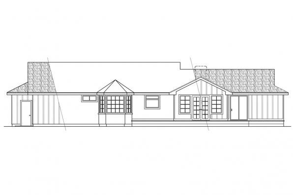 View Lot House Plan - Benton 10-048 - Rear Elevation