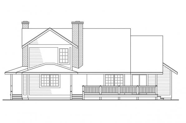 View Lot House Plan - Corbin 10-020 - Rear Elevation