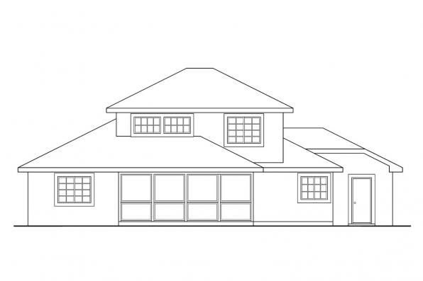 View Lot House Plan - Del Mar 11-057 - Rear Elevation