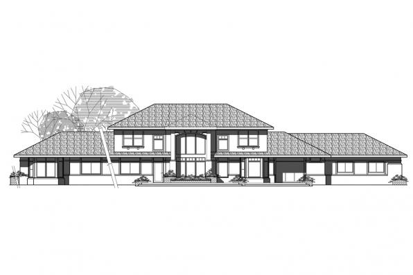 View Lot House Plan - Estefan 30-125 - Rear Elevation