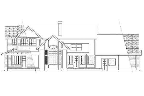 View Lot House Plan - Auburn 10-046 - Rear Elevation