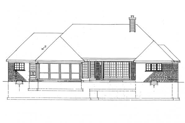 View Lot House Plan - Ingraham 42-016 - Rear Elevation