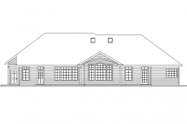 View Lot House Plan - Landry 30-665 - Rear Elevation