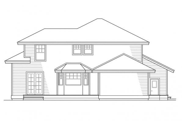 View Lot House Plan - Lindsey 10-022 - Rear Elevation