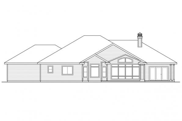 View Lot House Plan - Meadow Lake 30-767 - Rear Elevation