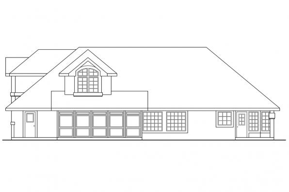 View Lot House Plan - San Antonio 11-053 - Rear Elevation