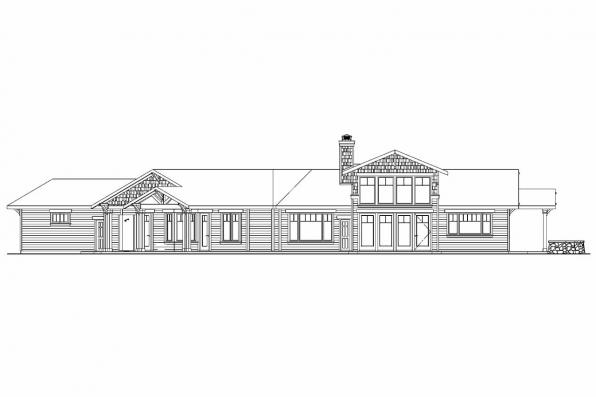 View Lot House Plan - Springwater 30-661 - Rear Elevation