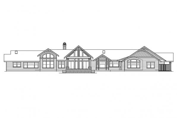View Lot House Plan - Woodcliffe 30-715 - Rear Elevation