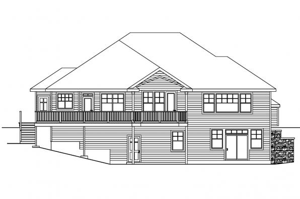 View Lot House Plan - Worthington 30-594 - Rear Elevation