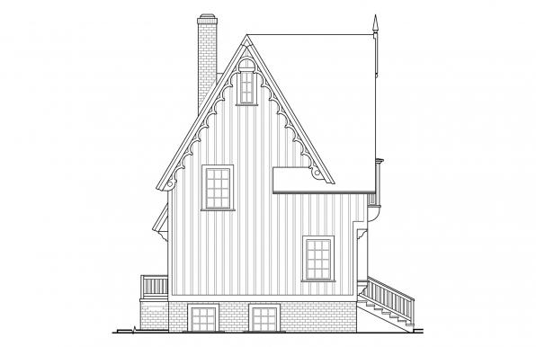 Langston - 42-027 - Victorian Home Plans - Right Elevation