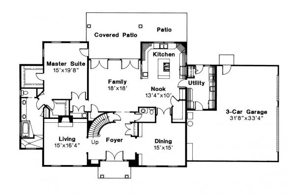 Colonial House Plan - Kearney 30-062 - 1st Floor Plan