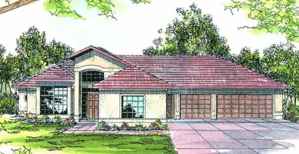 Medina - 10-188 - Southwestern Home Plans - Front Elevation