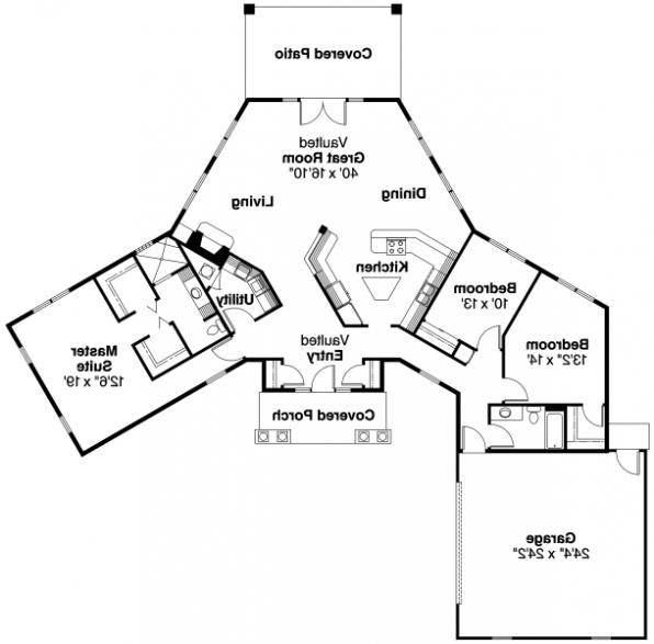 Hamilton - 10-446 - Hexagonal Home Plans - Floor Plan