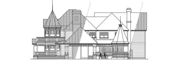 Victorian - 10-027 - Estate Home Plans - Left Elevation