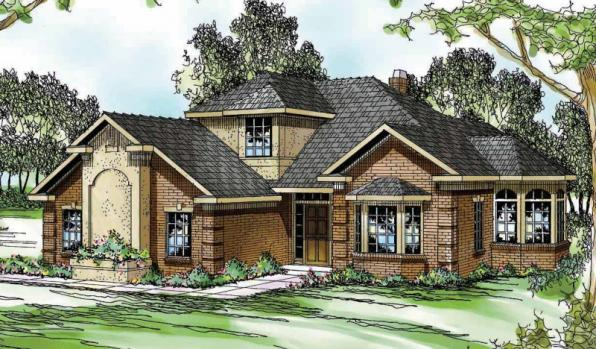 Wichita - 10-254 - Traditional Home Plans - Front Elevation