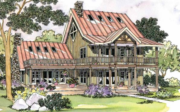 Avondale - 10-347 - Lodge Home Plans - Front Elevation