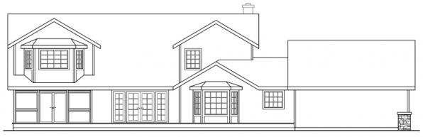 Hilyard - 10-408 - Country Home Plans - Rear Elevation
