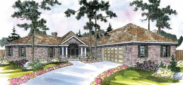 Hamilton - 10-446 - Hexagonal Home Plans - Front Elevation