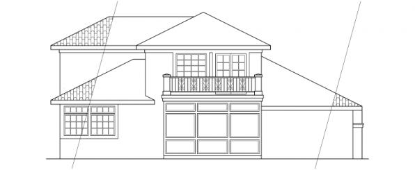 Warrington - 11-036 - Southwestern Home Plans - Rear Elevation