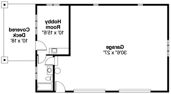Garage w/Hobby Room- 20-034 - Garage Plans - Floor Plan