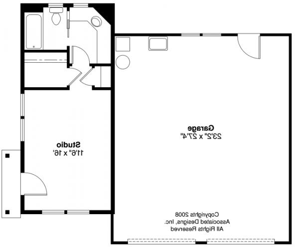 Garage w/Studio - 20-035 - Garage Plans - Floor Plan
