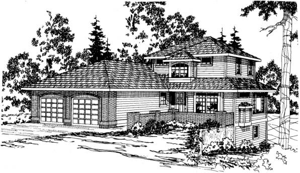 Samuel - 30-026 - Contemporary Home Plans - Front Elevation