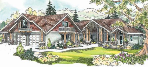Missoula - 30-595 - Estate Home Plan - Front Elevation