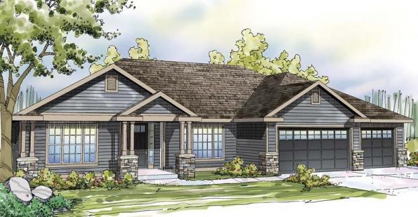 Oak Hill - 30-810 - Ranch Home Plan - Front Elevation