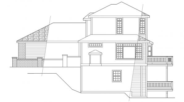 Samuel - 30-026 - Contemporary Home Plans - Left Elevation