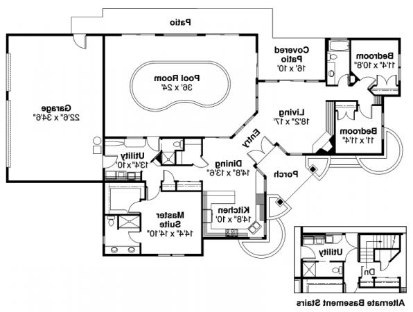 Williston - 30-165 - Ranch Home Plan - Floor Plan