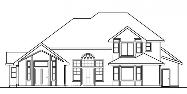 Edmonton - 30-342 - European Home Plan - Rear Elevation