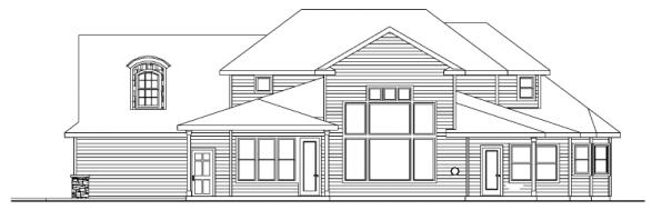 Westchase - 30-624 - European Home Plan - Rear Elevation