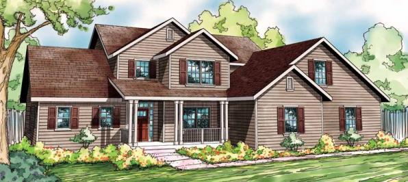 Glendale - 30-750 - Country Home Plan - Front Elevation