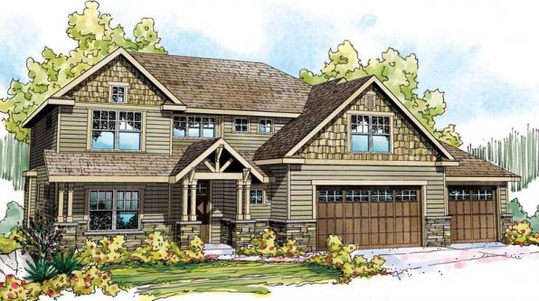 Oakridge - 30-761 - Craftsman Home Plan - Front Elevation