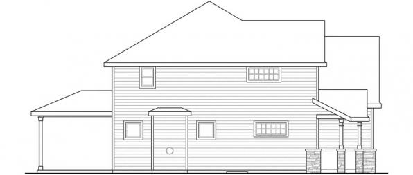 Oakridge - 30-761 - Craftsman Home Plan - Right Elevation