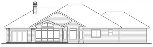 Meadow Lake - 30-767 - Ranch Home Plan - Rear Elevation