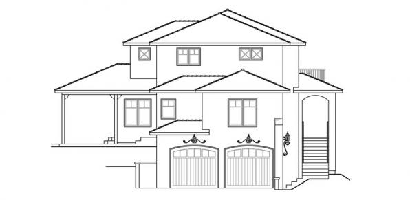 Santa Rosa - 30-800 - Southwestern Home Plan - Right Elevation