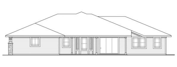 Northshire - 30-808 - Prairie Home Plan - Rear Elevation