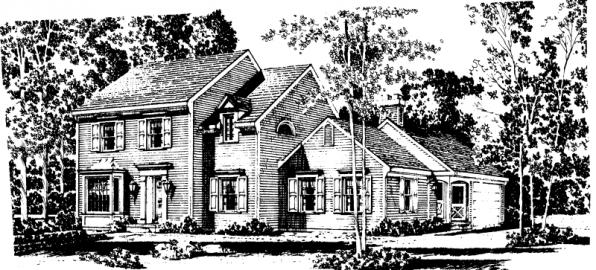Iverness - 42-008 - Colonial Home Plans - Front Elevation