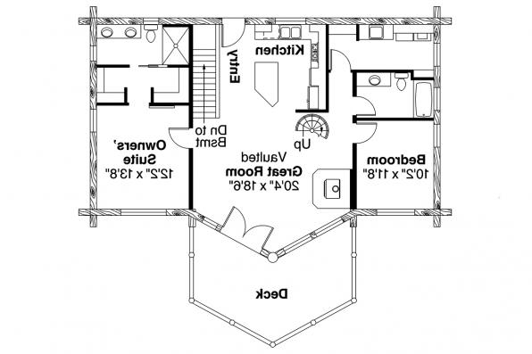 A-Frame House Plan - Eagle Rock 30-919 - First Floor Plan