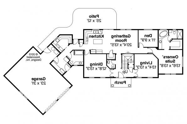Colonial House Plan - Lansford 30-314 - 1st Floor Plan