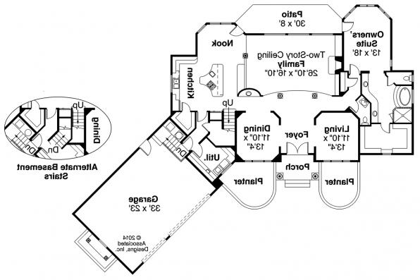 European House Plan - Vidalia 30-134 - 1st Floor Plan