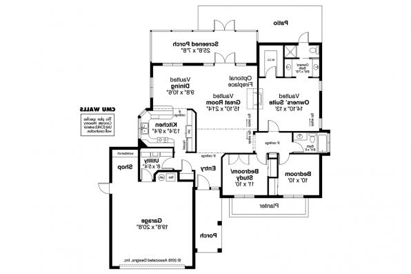 Mediterranean House Plan - Catalina 11-002 - Floor Plan