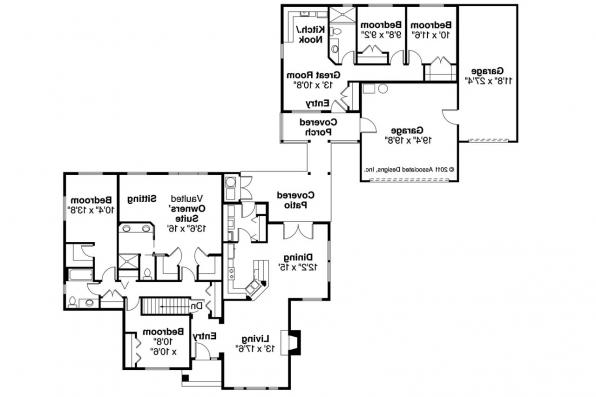 Ranch house plans ardella 30 785 associated designs for House plans with separate guest house